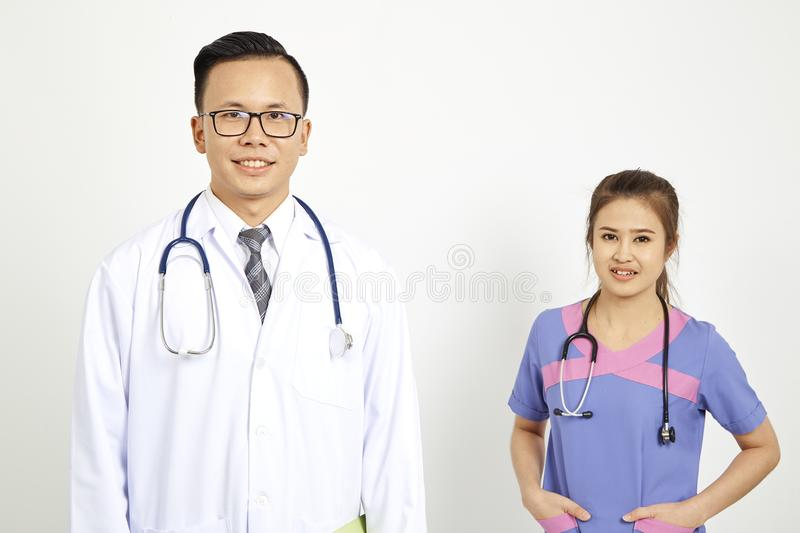 Doctor with nurse on white background royalty free stock images