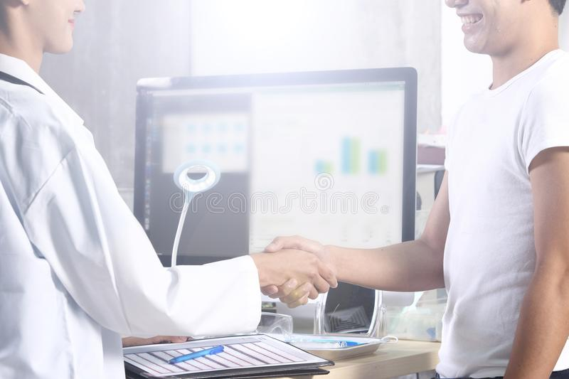 Doctor Nurse in white blue shirt with stethoscope and rubber gloves stock images