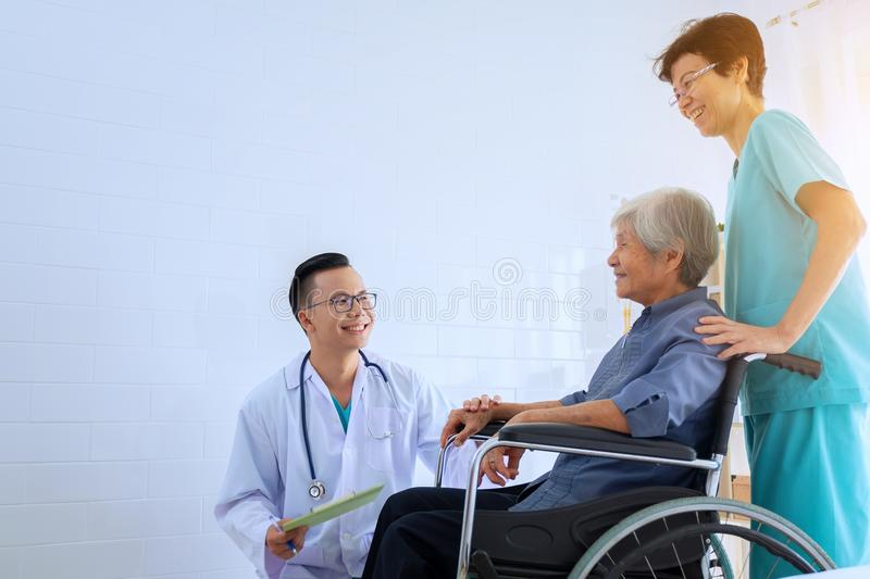 Doctor and nurse working with Stethoscope and Document In He`s P royalty free stock photos