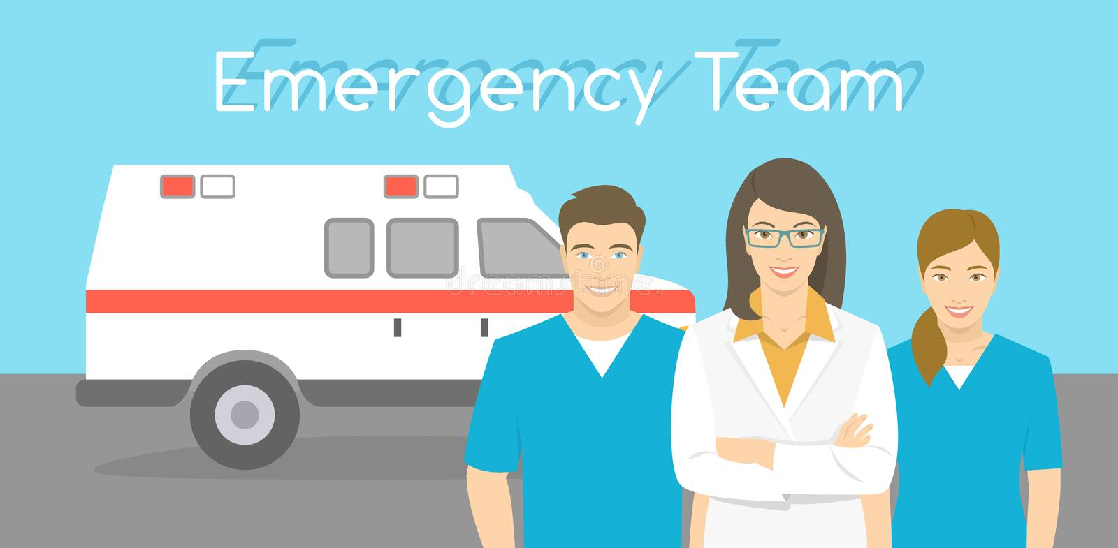 Doctor and nurses ambulance personnel. Modern flat stylized horizontal vector illustration of a smiling group of multiracial ambulance personnel, doctor and stock illustration