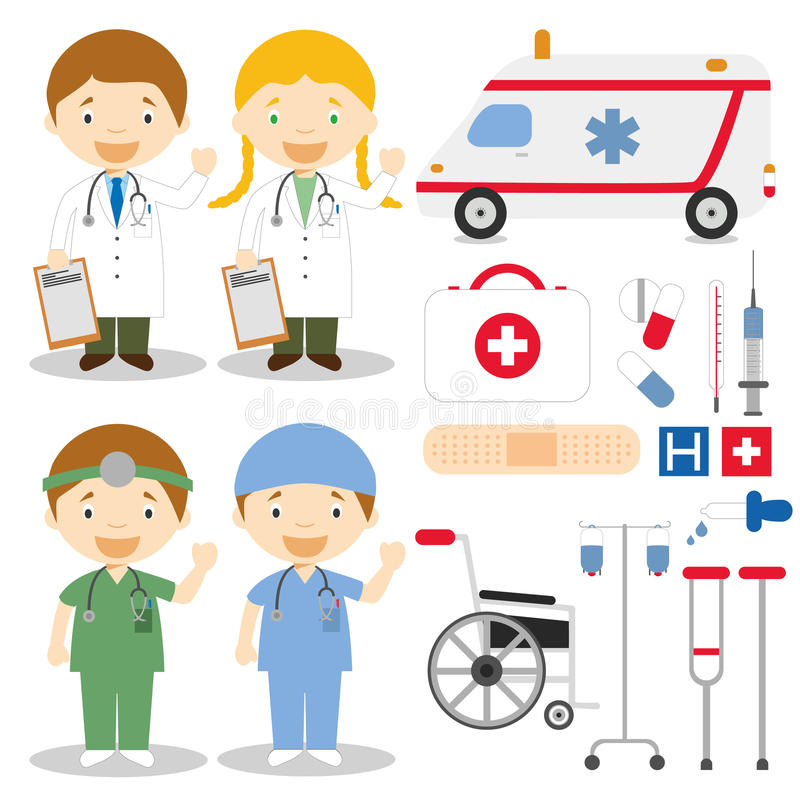 Doctor and nurses characters vector illustration stock illustration