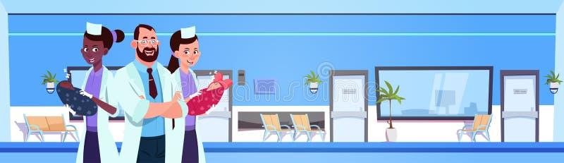 Doctor With Nurses Holding Newborn Babies Over Hospital Hall Background. Flat Vector Illustration stock illustration