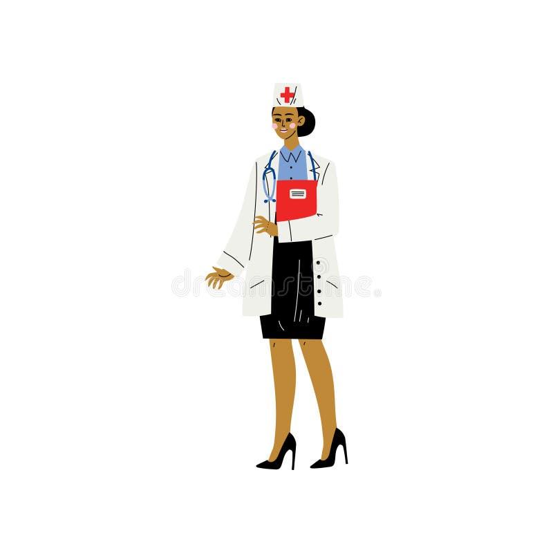 Doctor o enfermera de sexo femenino Character, capa y casquillo blancos Standiing de Weaing de la mujer joven con vector del este libre illustration