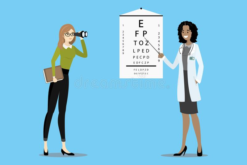 Doctor oculist checks vision. The patient with glasses looks through binoculars,cartoon vector illustration royalty free illustration