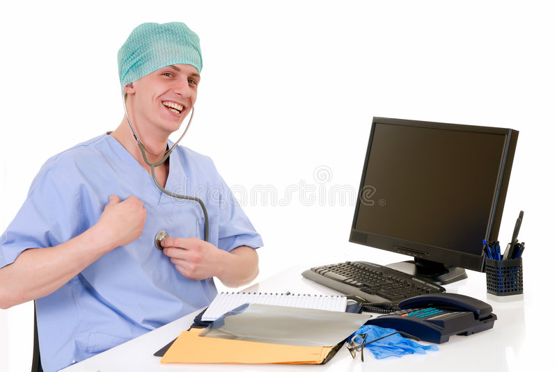 Doctor in office, admin work. Doctor at his desk, checking his own heartbeat, white background, studio shot royalty free stock images