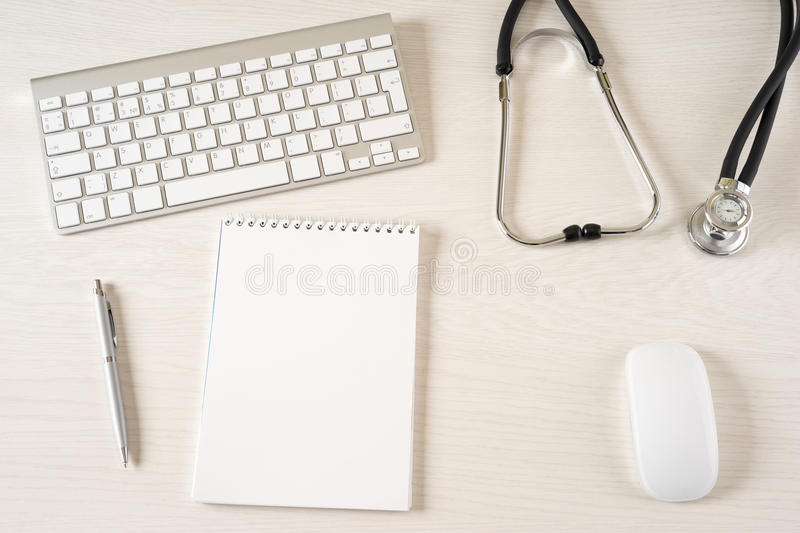 Doctor office. Tablet touch pad computer is in the doctor office stock photos