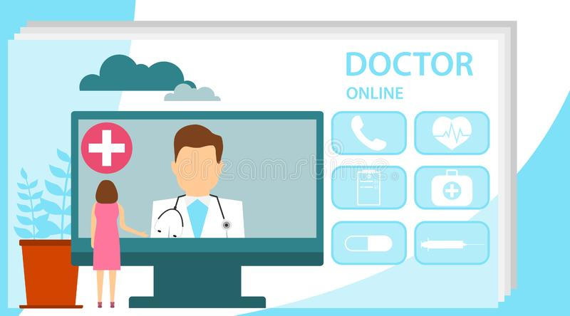Doctor online concept with character. Online doctor, internet computer health service, medical consultation vector concept. Online. Doctor medical consultation royalty free illustration
