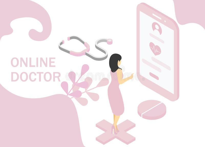 Doctor online concept. Isometric projection. Vector illustration. EPS 10.  vector illustration