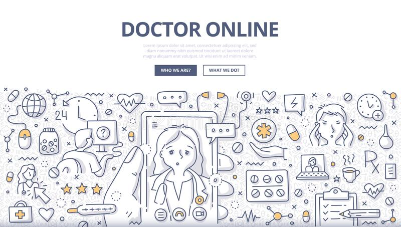 Doctor Online Doodle Concept. Doodle illustration of a man using mobile phone to chat with a doctor online. Concept of online medical consultation for web stock illustration