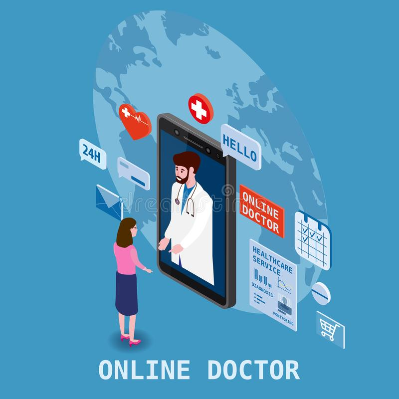 Doctor online isometry healthcare and medical consultation using a smartphone technology. Patient women and doctor. Doctor online isometry healthcare and medical stock illustration