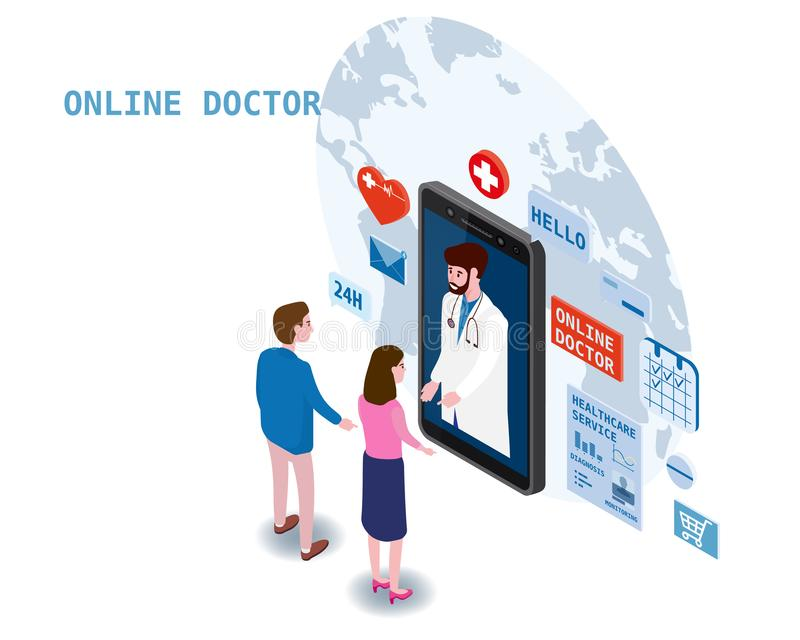 Doctor online isometry healthcare and medical consultation using a smartphone technology. Patients couple and doctor. Doctor online isometry healthcare and vector illustration