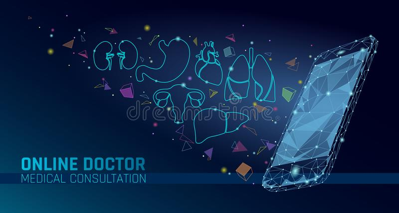 Doctor online medical app mobile applications. Digital healthcare medicine diagnosis concept banner. Human heart. Smartphone low poly geometric innovation stock illustration