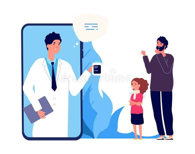 Doctor online. Sick girl, father and nurse by video link. Remote treatment, medical consultation vector illustration. Medicine online, doctor medical health royalty free illustration