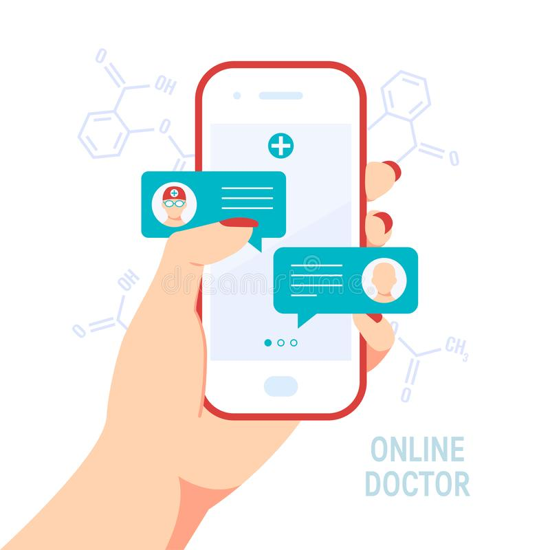 Doctor online vector concept in flat style royalty free illustration