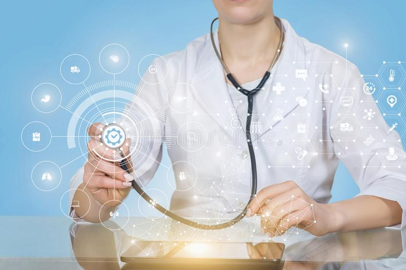 A doctor operating with the quality medical service structure stock images