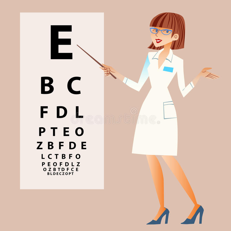 The doctor ophthalmologist examines your eyes vector illustration