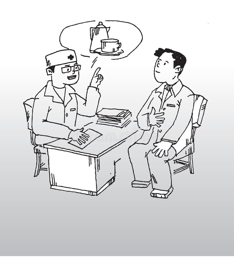 Doctor and patient. Hand drawn illustration of a doctor talking with a patient stock illustration
