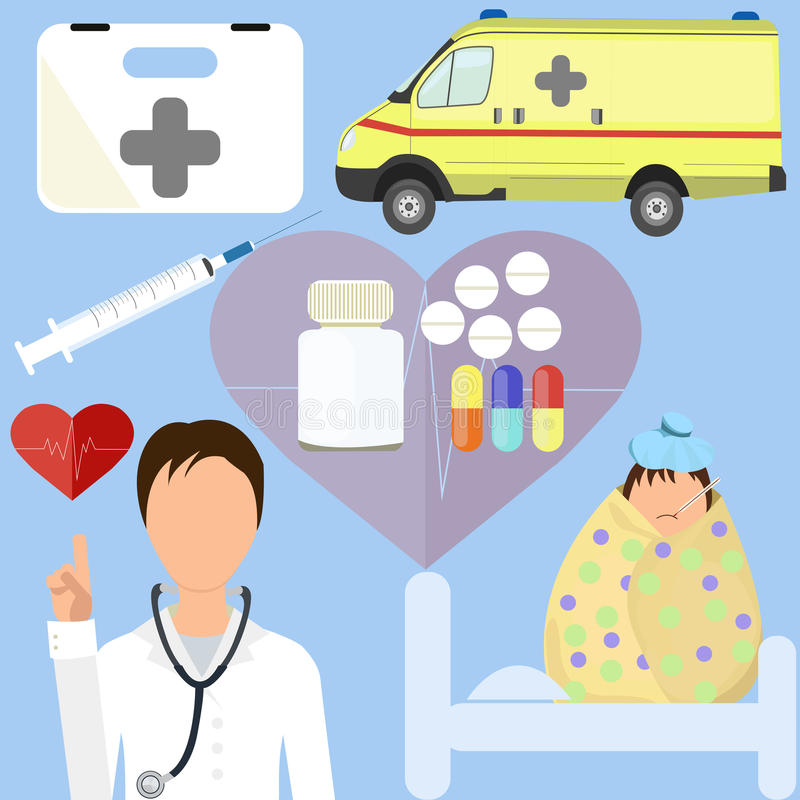 Doctor with patient-child. Doctor with patient-child, health items in flat style vector illustration