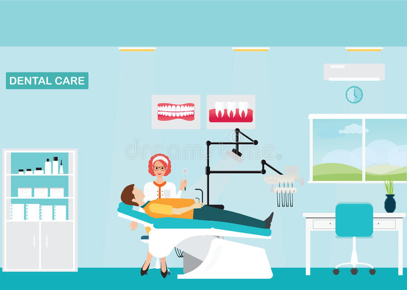 Doctor and patient at Dental care clinic. Doctor and patient at Dental care clinic or dentist office interior with medical dental arm-chair, table and poster stock illustration