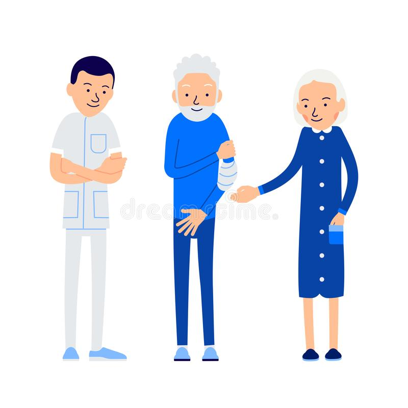 Doctor and patient. Elderly man holds sore hand. Patient is on m royalty free illustration