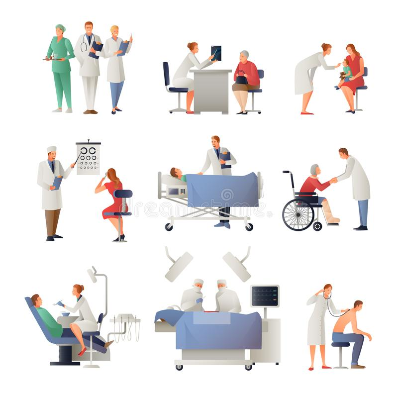 Doctor And Patient Flat Icons Set royalty free illustration