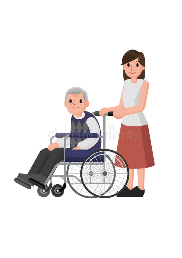 Doctor and patient in flat style. Practitioner doctor man and old man patient. Consultation and diagnosis. Medicine concept. Isolated Vector stock illustration
