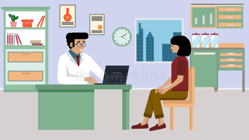 Doctor and patient in flat style. The practitioner and the patient is a woman in a medical office. Diagnosis and consultation stock illustration