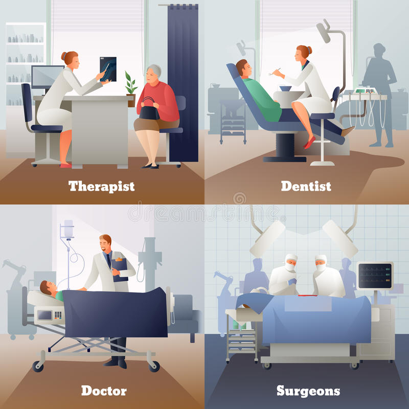 Doctor And Patient Gradient Compositions royalty free illustration