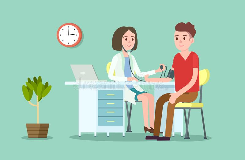 Doctor and patient measuring blood pressure royalty free illustration