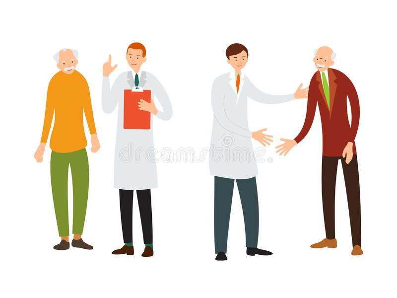 Doctor and patient. Medical specialist consulting with an elderly patient. Practitioner welcomes an old sick man. Cartoon stock illustration