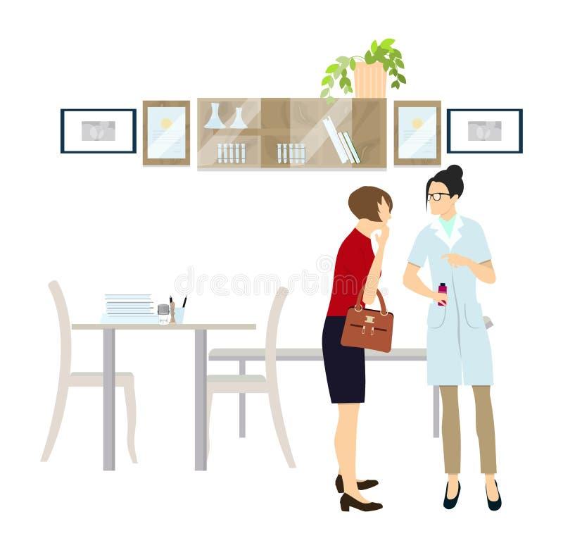Doctor with the patient. Doctor with the patient in the room. Health examination vector illustration