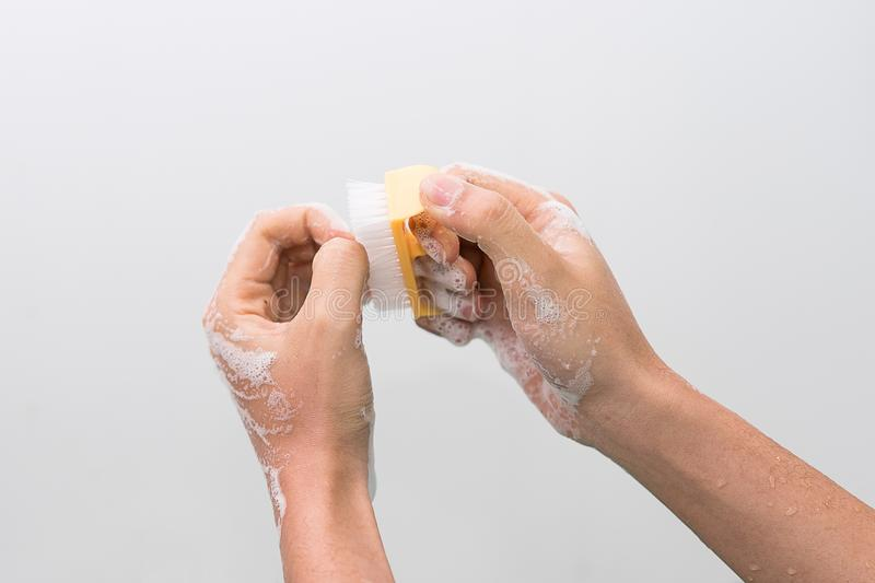 Doctor perform surgical hand washing, Preparation to the operating room. Soft focus. Doctor perform surgical hand washing, Preparation to the operating room royalty free stock images