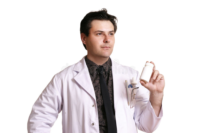 Doctor or Pharmacist. Holding or recommending a product stock photo