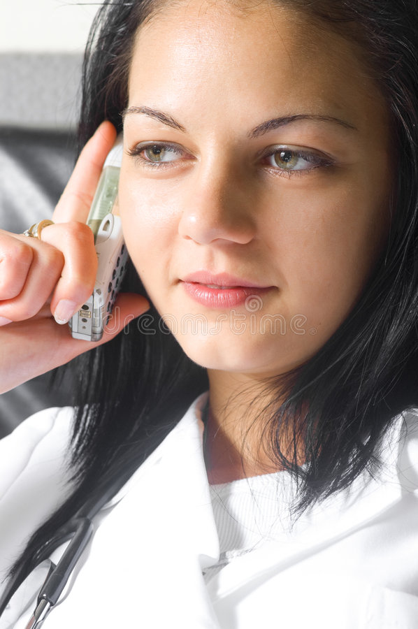 Doctor with phone royalty free stock image