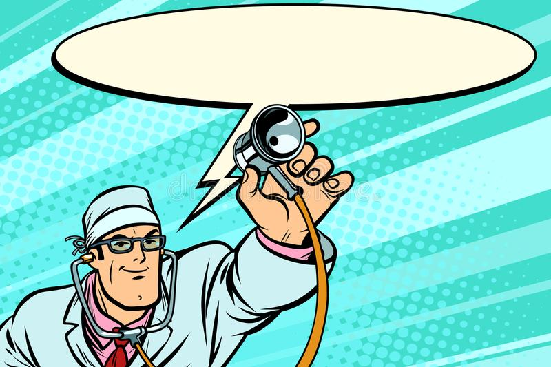 Doctor physician with stethoscope says comic cloud. Comic book cartoon pop art retro vector illustration drawing royalty free illustration