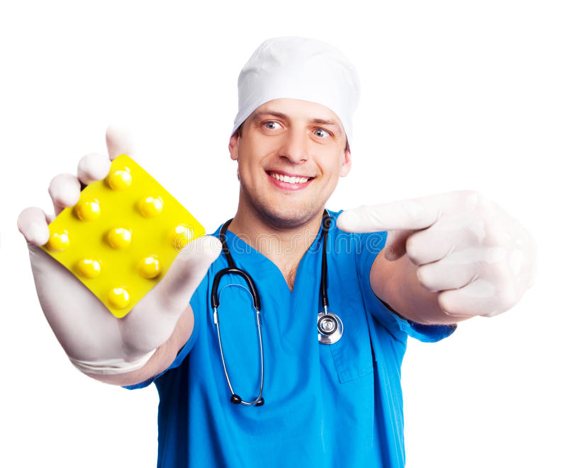 Doctor with pills royalty free stock photo