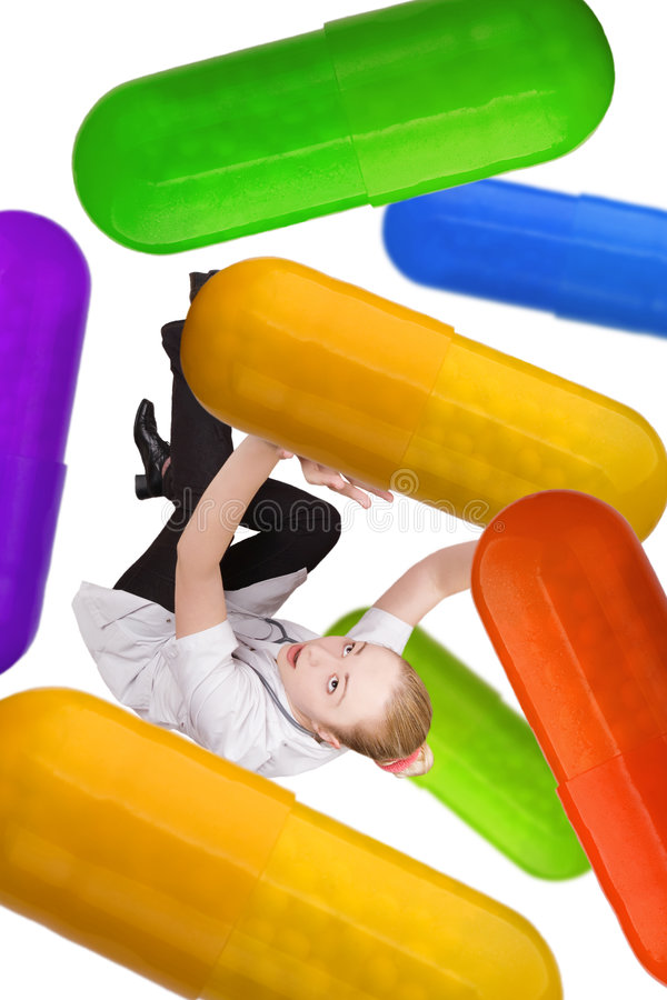 Doctor and pills royalty free stock photo