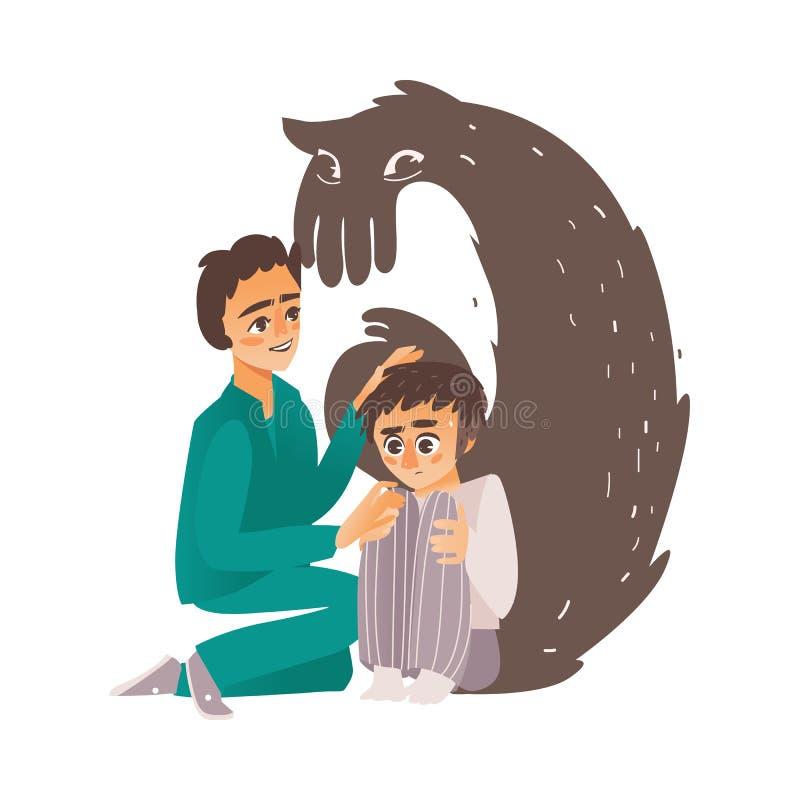 Doctor plano del vector que calma abajo al paciente mental ilustración del vector