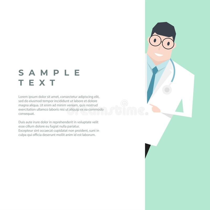 Doctor pointing blank white wall with copy space. Vector royalty free illustration