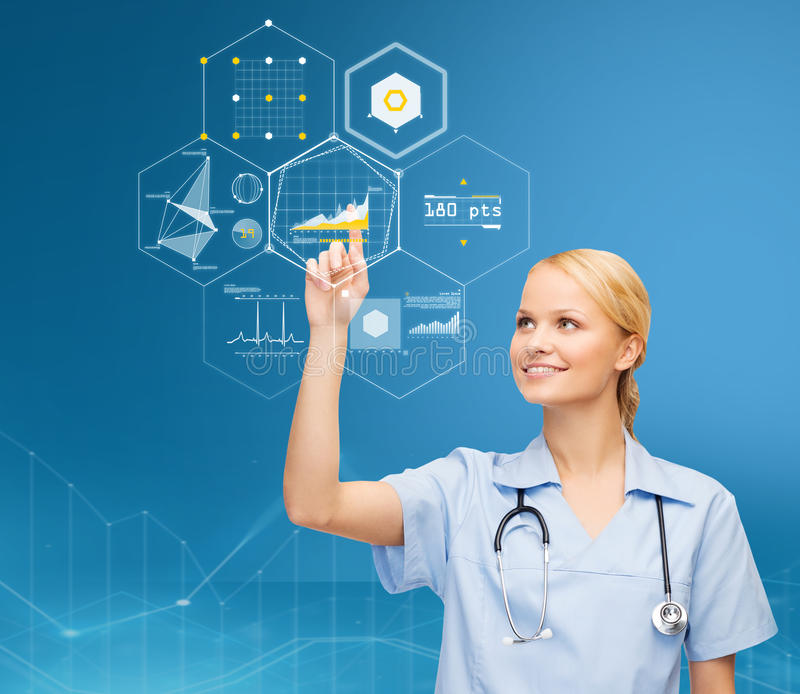 Doctor pointing finger to virtual chart over blue stock images