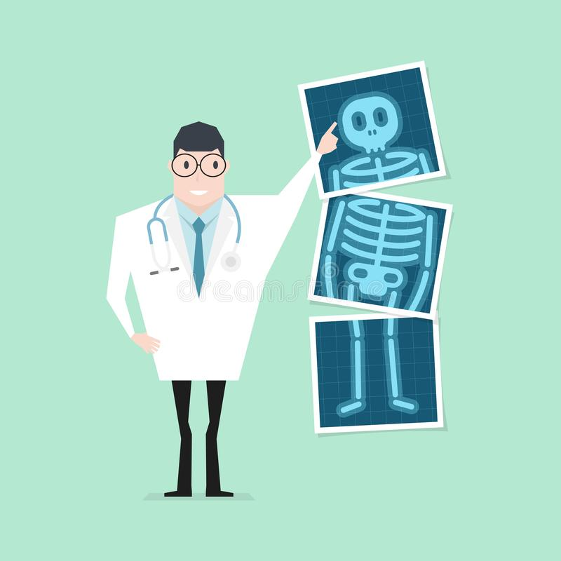 Doctor pointing x-ray film. Health check up. Vector vector illustration