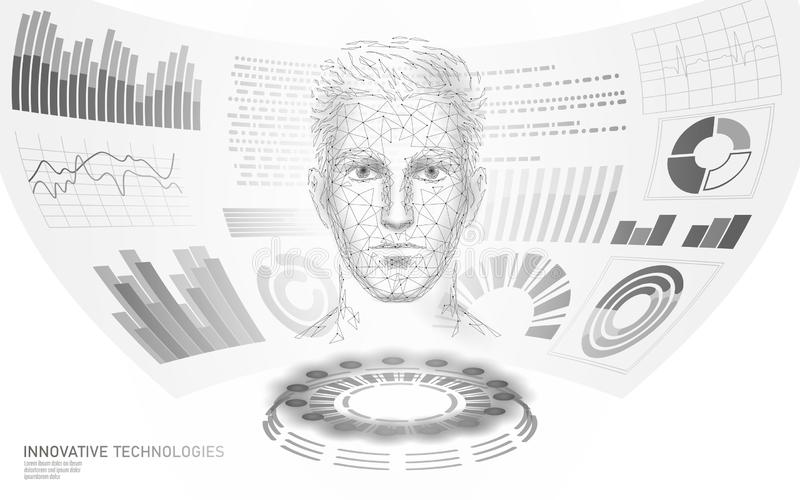 doctor polivin?lico bajo de la exhibici?n de HUD del rostro humano 3D en l?nea Examen futuro de la web del laboratorio de la medi ilustración del vector