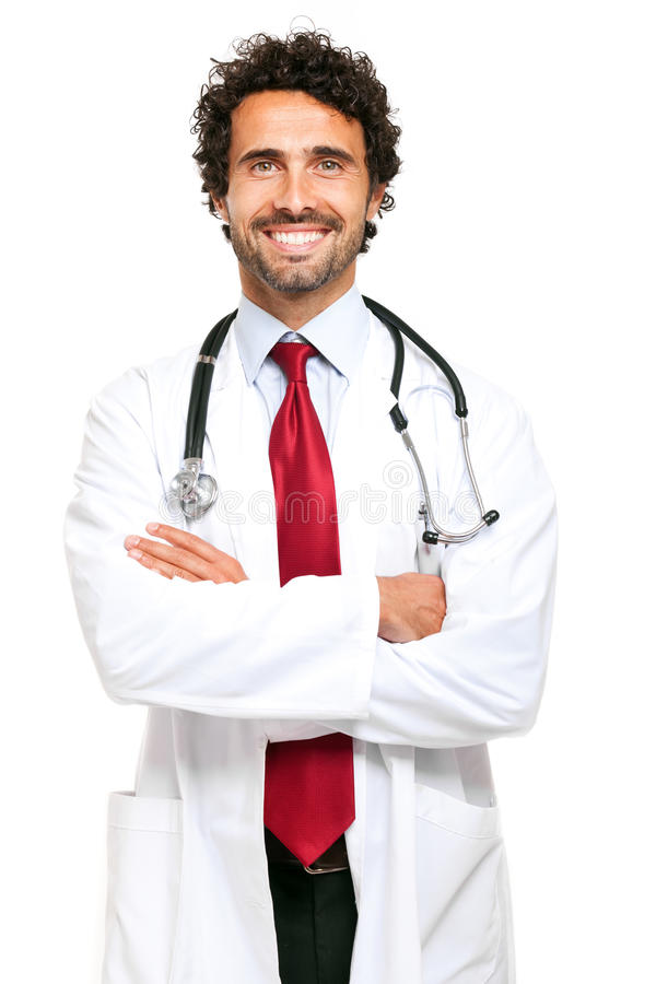 Doctor portrait isolated on white stock image