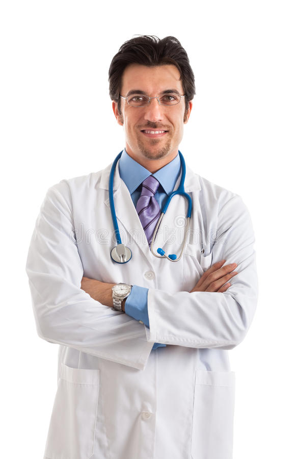 Doctor portrait isolated on white stock images