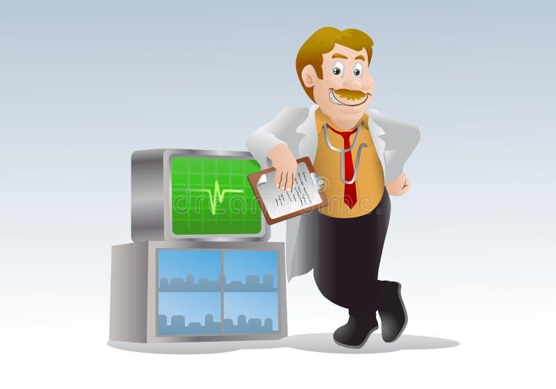 Doctor Pose On Ekg Machine Stock Photos