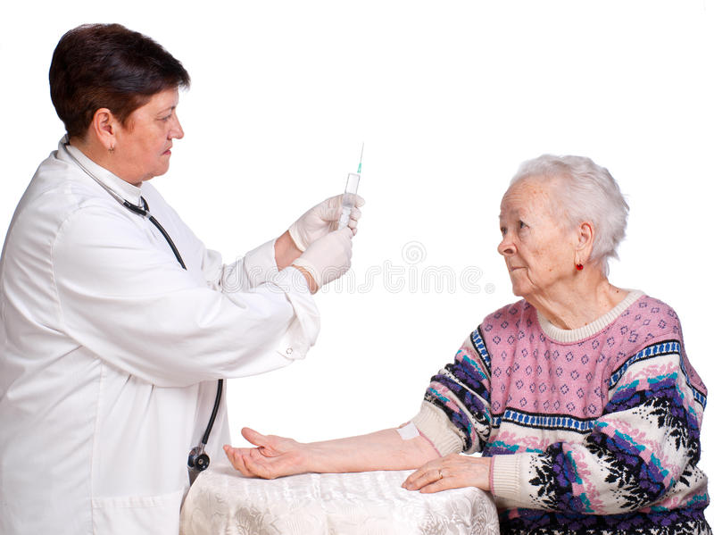 Download Doctor Preparing Injection For Old Woman Stock Image - Image of adults, medicine: 29339965