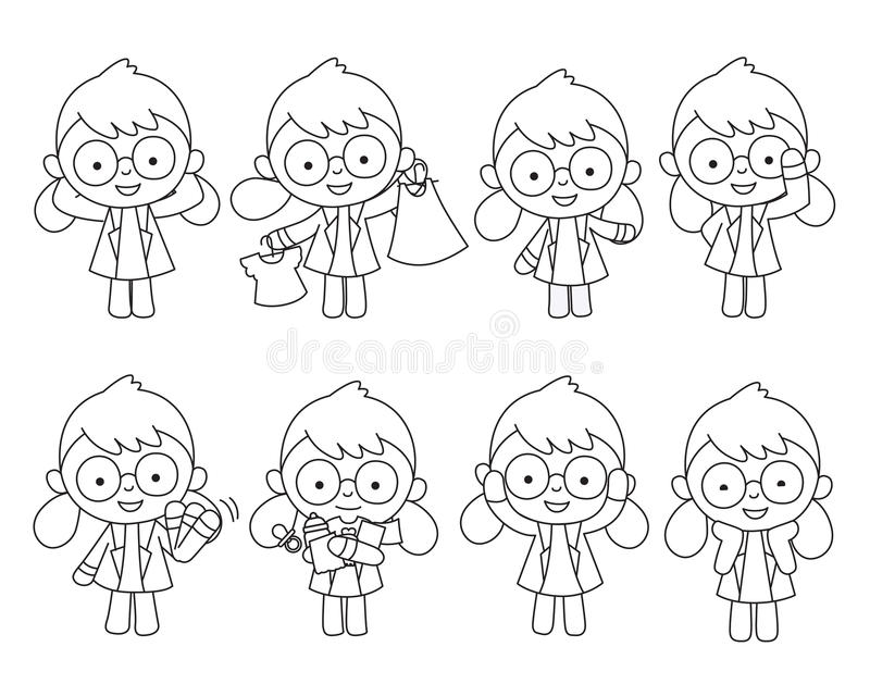 Doctor presentado en diversas acciones ilustración del vector