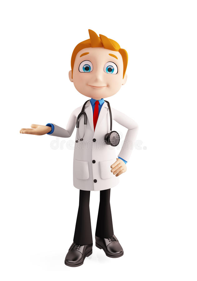Doctor with presentation pose royalty free illustration