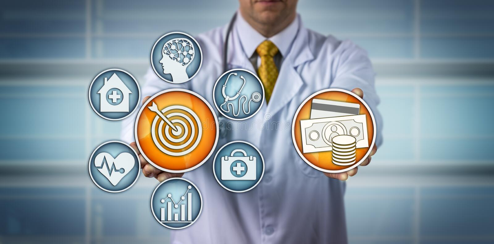 Doctor Presenting Value-Based Healthcare Model royalty free stock photography