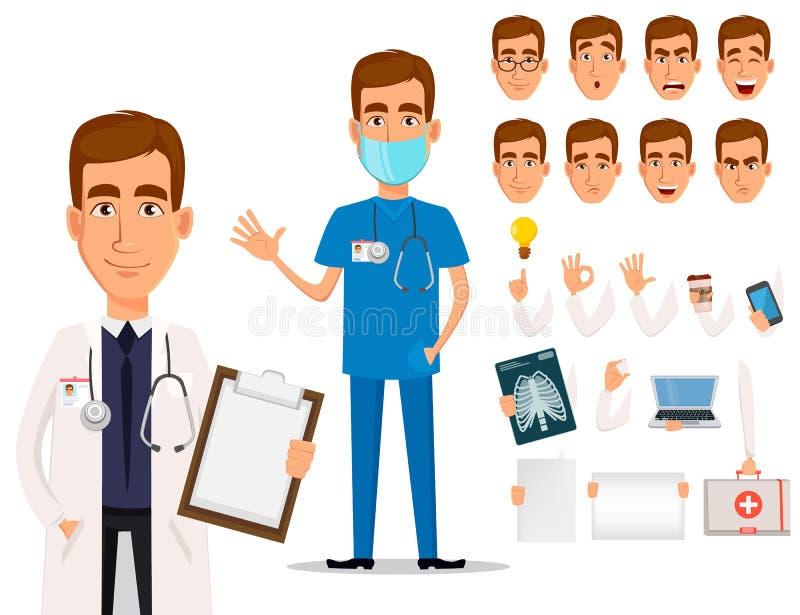 Doctor profesional joven, paquete de partes del cuerpo y emociones libre illustration